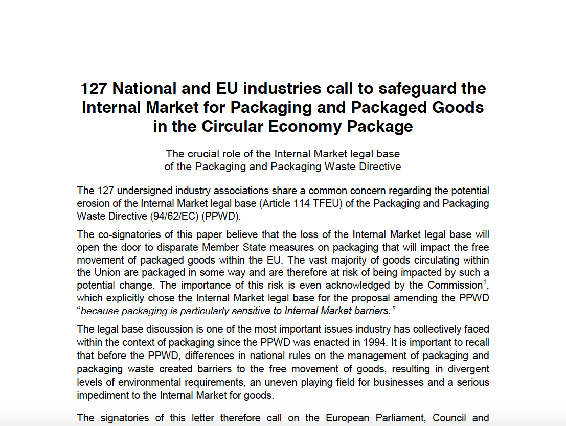 127 National and EU industries call to safeguard the Internal Market for Packaging and Packaged Goods in the Circular Economy Package