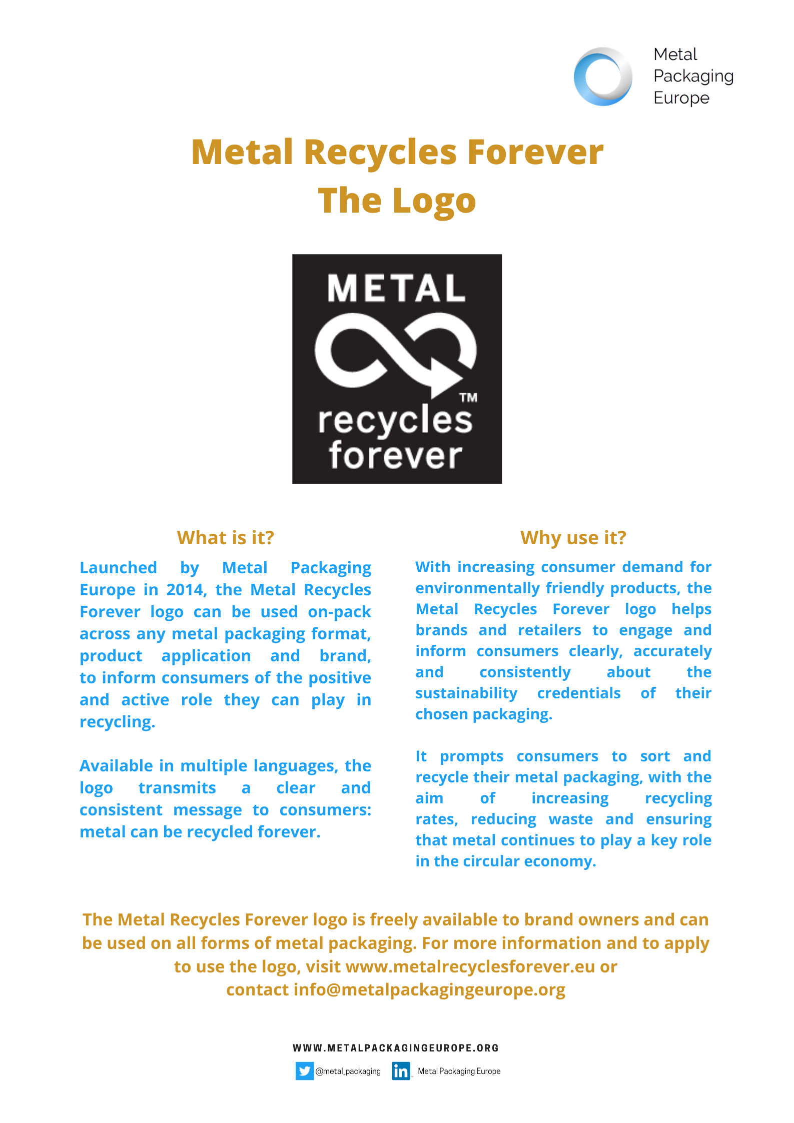 Metal Recycles Forever Logo Factsheet